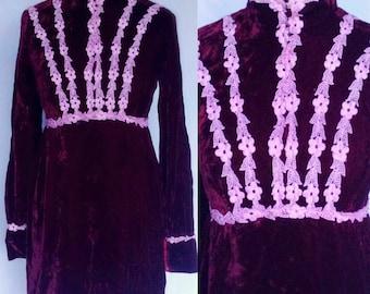 Vintage 60s 70s Mod Psych Hippie Dark Wine Red Velvet Pink Floral Applique Victoriana Lace Bib Lolita Babydoll Mini Dress Small