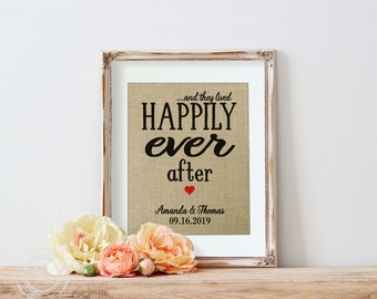 Happily Ever After Boyfriend Gift Fairy Tale Wedding Disney Wedding Decor Happily Ever After Burlap  Personalized Wedding Gift for Couple