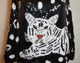 FREE  SHIPPING   Sequin Bead Tiger Blouse