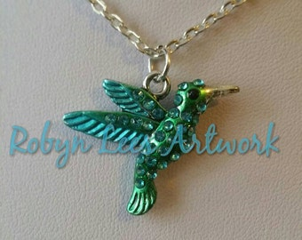 Blue Rhinestone and Green Bird Hummingbird Kingfisher Charm Necklace on Silver Crossed Chain or dark brown braided cord, Beautiful, Nature