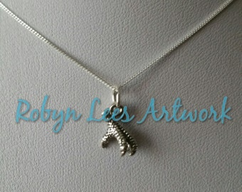 Solid 925 Sterling Silver Tiny Bird Claw Talon Foot Charm Necklace on Fine 925 Sterling Silver Chain. Dainty, Gothic, Bridal