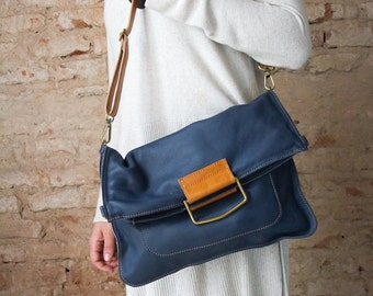 Blue tote bag, soft leather tote, foldover leather bag, fold over tote, large leather bags, school bags, laptop leather bag