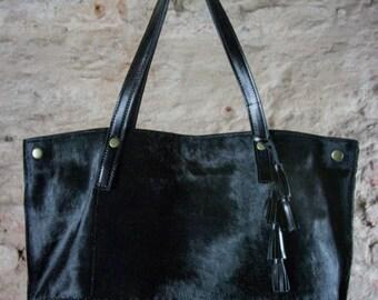 Black leather tote, fur leather bag, shoulder cowhide bag, oversize cow hide bag,
