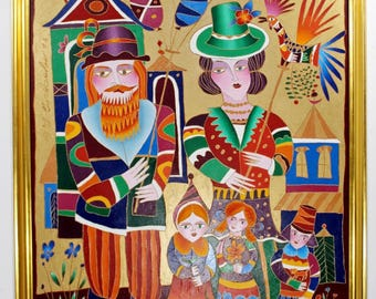 Oil and Enamel Painting on Canvas Signed Yuri Gorbachov Dated 1994 Family