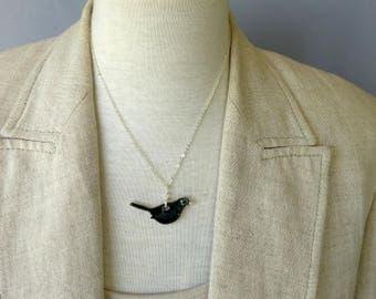 Ceramic blackbird necklace