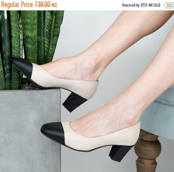 Heeled Pumps Nude Leather Shoes Two Tone Shoes Mid By Vidersshoes-4832