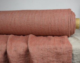 Pure 100% linen fabric 240gsm. Herringbone, not dyed flax & terracotta. Medium-heavy weight, softened, washed. For various clothes and so on