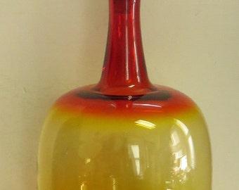 Vintage Large BLENKO Red, Orange & Yellow Ombre Color Bottle w/ Cap.