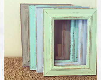 Photo Frame Set of 4 Distressed Picture Frames, Wooden Rustic Frames, Pastel Summer Shades, 5x7 Photo Frame, Wedding Decor