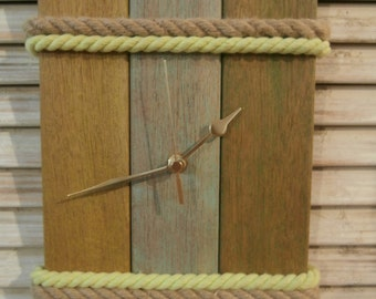 Handmade Wood Clock, Upcycled Wooden Sunbed Slats Clock, Three Slats Clock, Green Wood Clock, Kitchen Clock, Living Room Clock, Wood Art