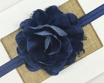 Denim Flower Headband,Baby girl headband,Toddler Headband,Newborn Headband,Denim Flower Hair Clip,Denim and Lace Headband,Denim Bow Headband