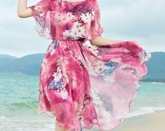 Bohemia dress / Chiffon dress / Beach dress / Tunic dress / Fashion dress / Handmade from light chiffon