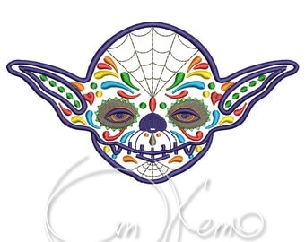 MACHINE EMBROIDERY DESIGN - Calavera Yoda embroidery, dia de los muertos, mexican design, star wars embroidery, day of the dead