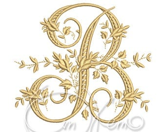 MACHINE EMBROIDERY DESIGN - Victorian Letter B embroidery, Victorian alphabet embroidery, Antique alphabet embroidery, Monogram embroidery