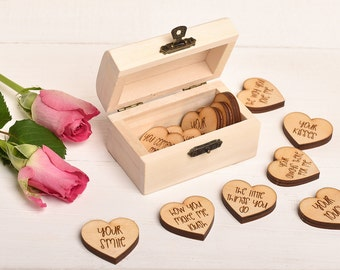 Valentines Gift for Him Gift For Her, Mini Keepsake Chest. Personalised 12 Things I Love About You Gift