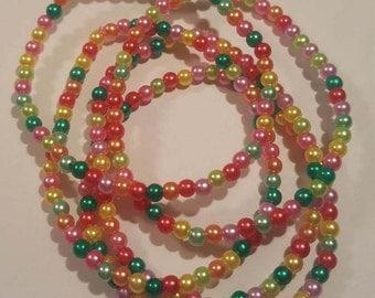 Multicolored seed bead bracelet- set of 5 stackable bracelets handmade