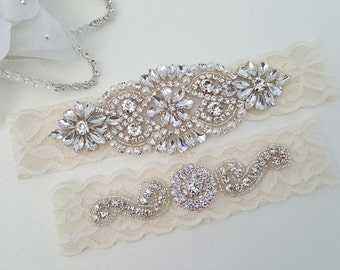Wedding Garter - Bridal Garter - Crystal Rhinestone Garter and Toss Garter Set - Style 795