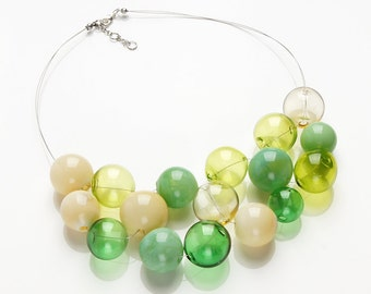 Big Green hollow bubble beads statement lampwork necklace, bubble necklace, large bead necklace, chartreuse necklace, fresh necklace