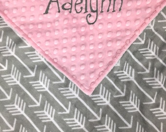 Personalized Minky Baby Blanket, Gray Arrow Minky and Pink Minky, Monogrammed Blanket