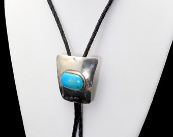 Vintage Large Sterling Silver Turquoise Braided Black Leather Cording Bolo Tie