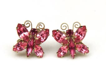 Vintage Gold Tone and Pink Rhinestone Butterfly Clip Earrings