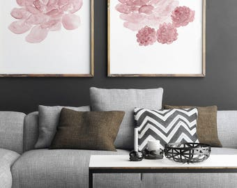 Blush Pink Nursery Decor, Succulent Art Print Living Room Decoration, Botanical Baby Girl Room Illustration, Cacti Plant Watercolor Painting