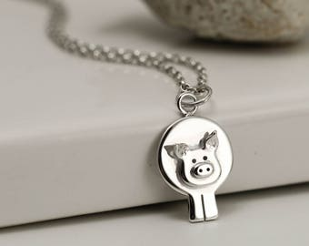 Piggy Necklace - Sterling Silver Pig Jewellery - Pig Gift