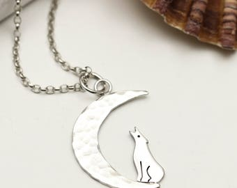 Moon & Wolf Necklace - Sterling Silver Wolf Jewellery - Howling Wolf Gift