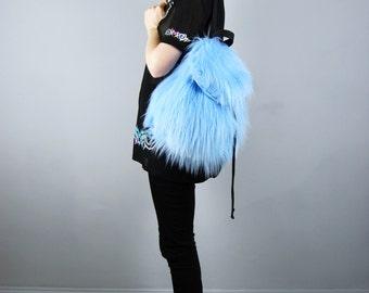 Baby Blue Faux Fur Backpack Rucksack Bag Pastel Colors Colours