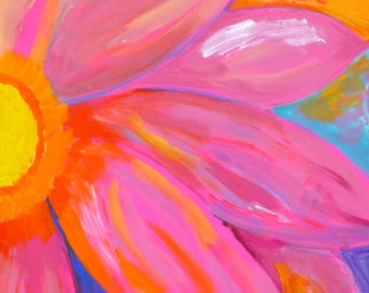 Pink Petals, daisy painting, funky painting, whimsical painting, art for girls room, acrylic painting flower painting colorful pink painting
