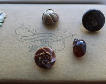 Lot of 4 Brown Celluloid and Bakelite Buttons