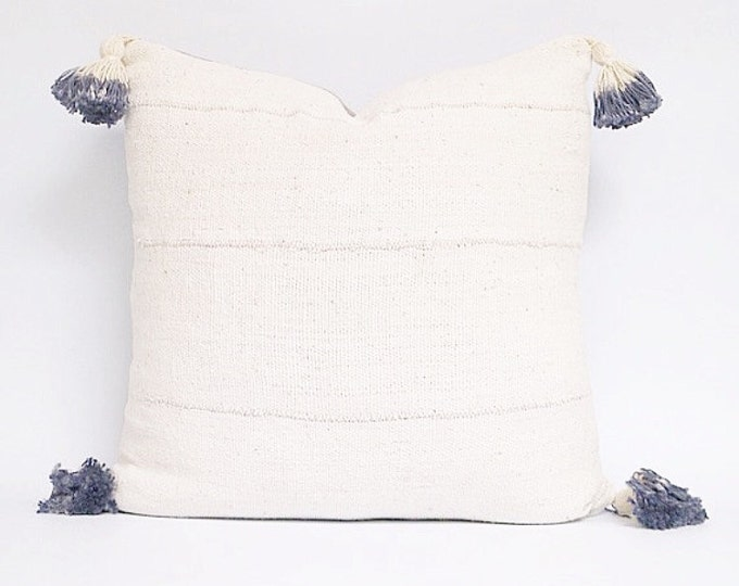 Authentic African White Mudcloth Textile Pillow Cover With Blue Dip Dyed Tassels Various Sizes