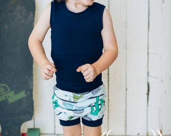 Shorts, sloth hanging out with cactus, tropical, grow with me shorts, harem, 0-12M, 6M-3Y, 3Y-6Y, babies, toddlers, kids, cotton spandex