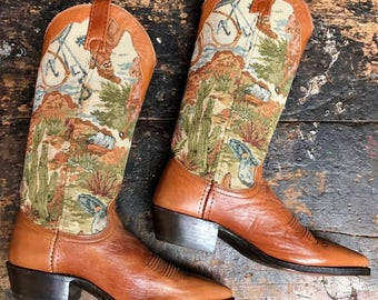 Vintage Dan Post Tapestry Western Boots Vtg Fabric Inlay Leather Cowboy Boots Women's Size 6