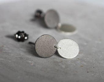 sterling silver minimalist earrings, geometric earrings, contemporary earrings, circle earrings, post earrings, dangle earrings