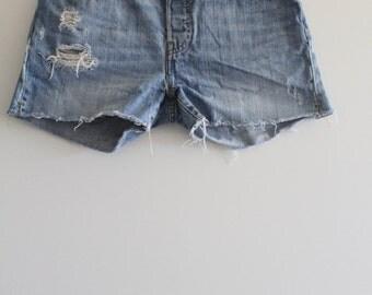 Vintage Levi's 501 Button Fly Distressed Denim Cut-Off Shorts