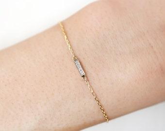 Diamond bar bracelet, mini bar bracelet, pave white diamond bar bracelet, Dainty bracelet 14k yellow gold, Christmas gift idea, bar-b101 XP