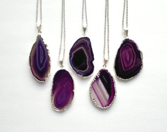 Purple Agate Slice Necklace Agate Necklace Silver Edged Agate Slice Jewelry Silver Dipped Jewerly Mineral Necklace Purple Stone Necklace