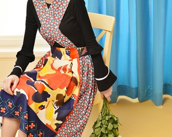 Fine Art Collection two pieces floral oil painting color fusion blossom suspender skirt