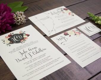 Custom Wedding Invitation Suite - Floral Emblem - Elegant Monogram Wedding Invitations