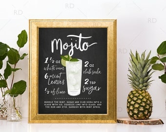 Mojito Chalkboard Cocktail with Recipe - PRINTABLE Wall Art / Cocktails Mixed Drinks Wall Art / Hand Drawn Cocktails / Cocktails Print