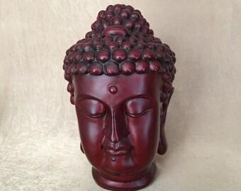 Buddha Bust, Buddha Head Statue, Resin Cast, Maroon Red Color, Buddha Sculpture, Spiritual Decor, Feng Shui Home, Meditation, Thai Buddha