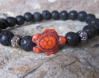 turtle bracelet black lava stone Beaded bracelet mens bracelet women's bracelet Bohemian orange turtle jewelry volcanic rock oil diffuser