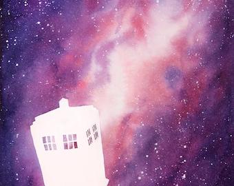 "TARDIS Galaxy, Watercolor Painting, Doctor Who Painting, Doctor Who Fan Art, Watercolor Galaxy, Spaceship, Standard Art Print, 8x10"""