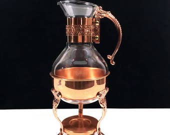Vintage Glass Coffee Carafe by Corning with Copper Paw Footed Warming Stand