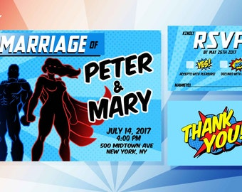 printable personalized superhero wedding invitations - Superhero Wedding Invitations