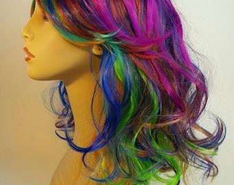 Rainbow Wig, Mid-Length Rainbow Wig, Mid-Length  Mult-Colored Wig, Shoulder Length Rainbow Wig, Shoulder Length Stacked Rainbow Wig