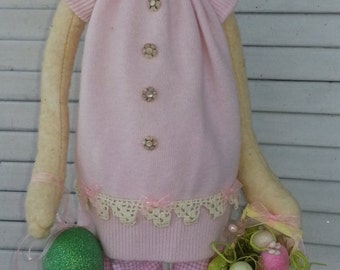 Primitive Bethany Bunny - Easter Bunny Pink Bethany - Easter Bunny  - Handmade Bunny - Primitive Bunny - Rabbit Bunny