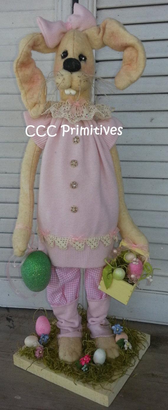 Primitive Bethany Bunny - Easter Bunny Pink Bethany - Easter Bunny  - Handmade Bunny - Primitive Bunny - Rabbit Bunny
