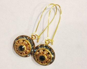Topaz & Graphite Swarovski Crystal Drop Earrings, Three Layer Swarovski Crystal Earrings, Vintage Swarovski Earrings, Swarovski Statement